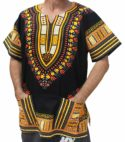 Raan Pah Muang Brand Unisex Bright African Black Dashiki Cotton Shirt
